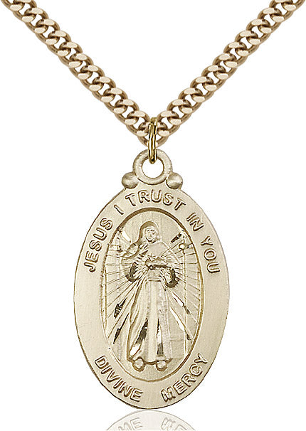 "Divine Mercy Necklace 24"" Chain"