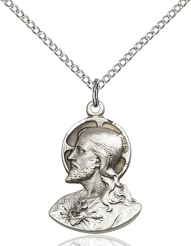Head of Christ Necklace Sterling Silver 18""