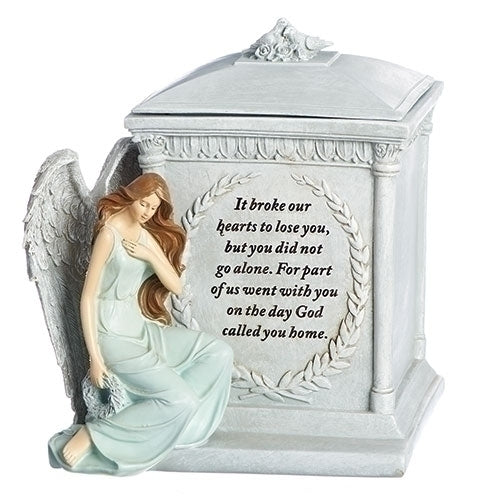"MEMORIAL BOX W/ANGEL AND VERSE 8.5""H"