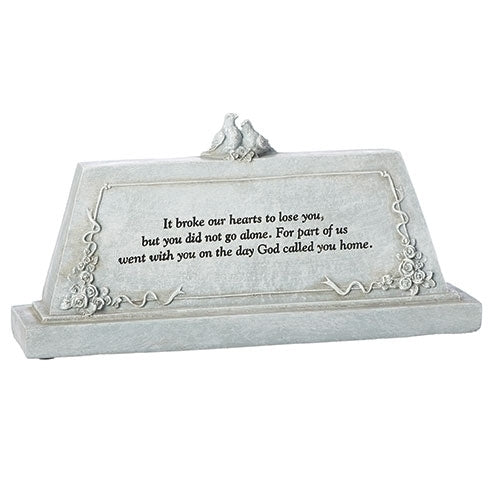 "MEMORIAL TABLE PLAQUE 5""H"
