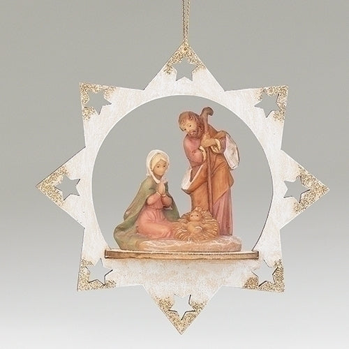 "HOLY FAMILY STAR ORNAMENT 5""H"