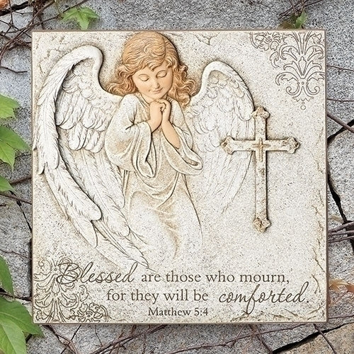 "ANGEL WITH CROSS PLAQUE 10.5""H"