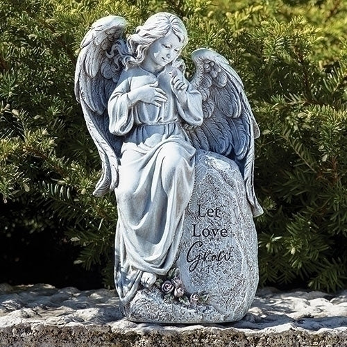 "ANGEL SEATED GARDEN STATUE 12""H"