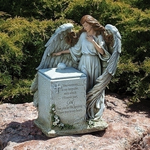 "Memorial Box with Angel and Verse 16""H"