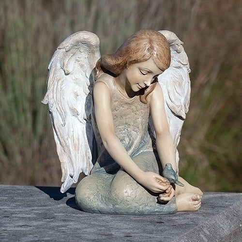 "Angel with Bluebird Seated 9.75""H"
