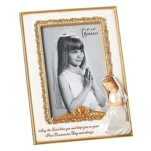 "COMMUNION FRAME  - 8""H COMMUNION GIRL FRAME 4X6"
