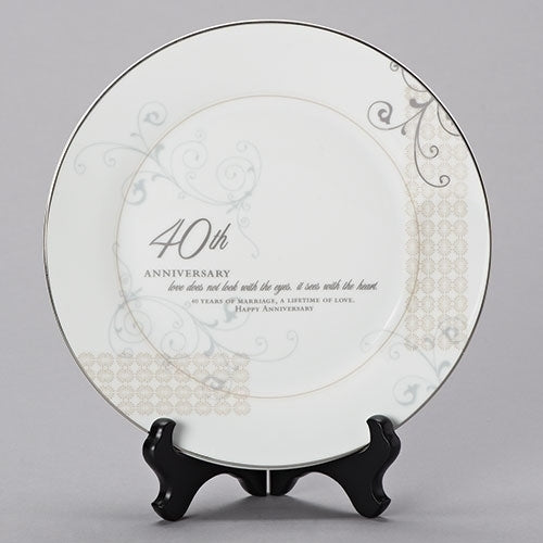 "40th Anniversary Plate with Stand 9""H"
