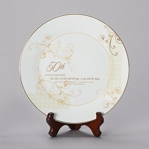 "50TH ANNIVERSARY PLATE 9""H 2 PC SET"