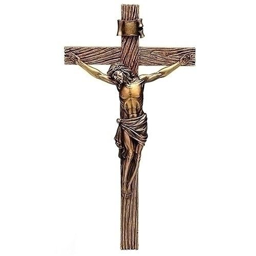 "ANTIQUE GOLD CRUCIFIX 20""H"