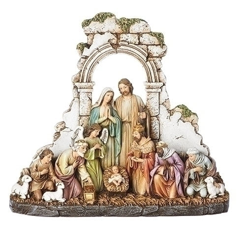 Nativity Kneeling with Stone Wall 8.5""