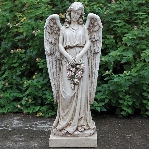 "ANGEL HOLDING ROSE WREATH 36""H"