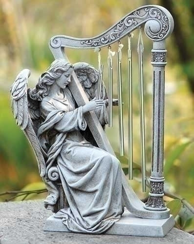 "Angel with Harp Windchime 10""H"