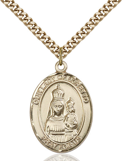 "Our Lady of Loretto Necklace 24"" Chain"