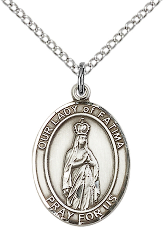 Our Lady of Fatima Necklace Sterling Silver 18""