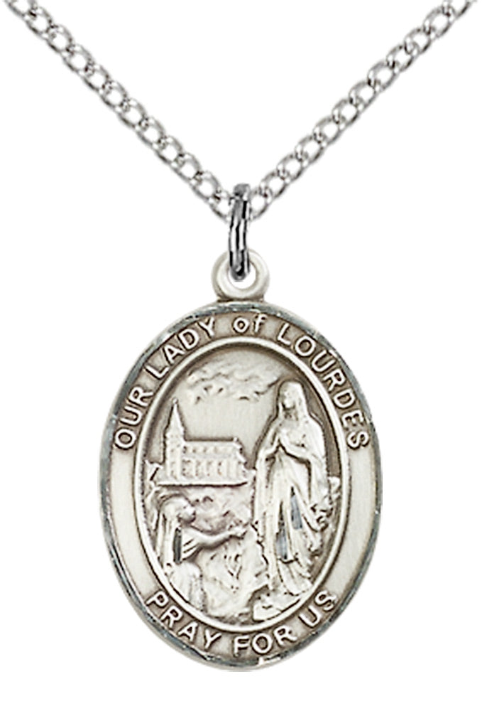 Our Lady of Lourdes Necklace Sterling Silver 18""