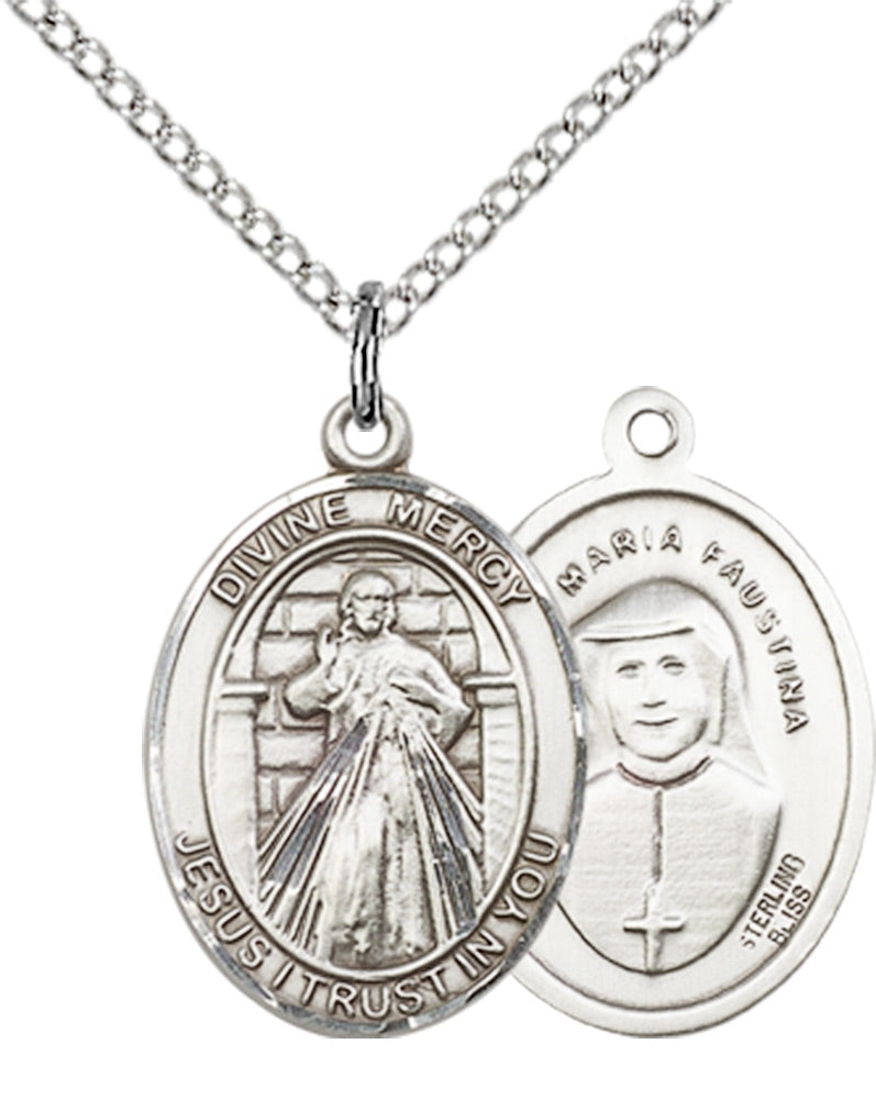 Divine Mercy Medal - Sterling Silver