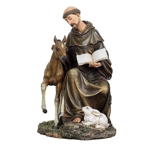 "FRANCIS - ST FRANCIS W/HORSE 8.5""H"