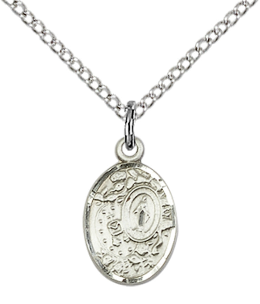 Miraculous Medal Necklace Sterling Silver 18""