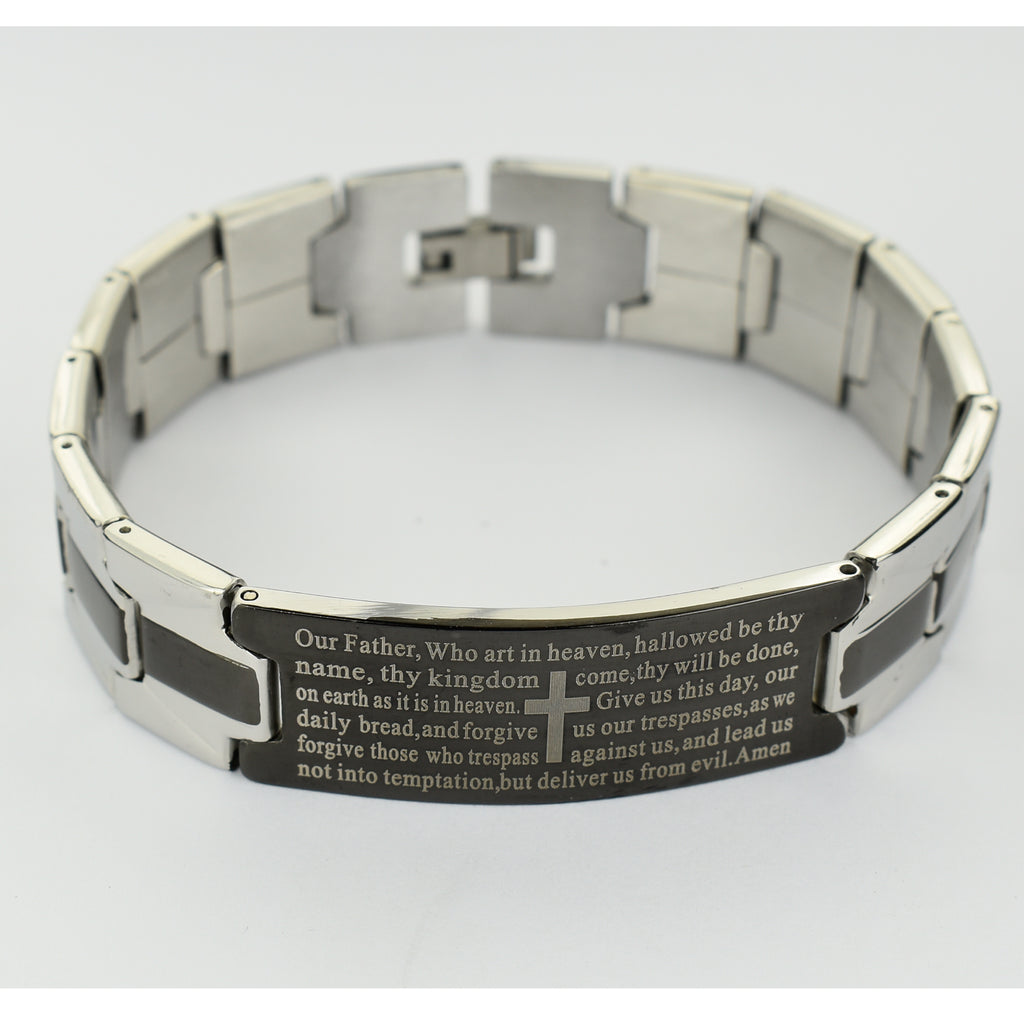 Men's Stainless Steel Our Father Bracelet, Boxed
