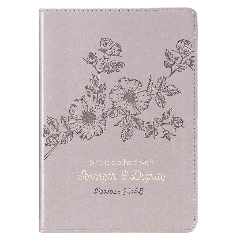 Strength & Dignity Slimline Taupe Faux Leather Journal _ Proverbs 31:25