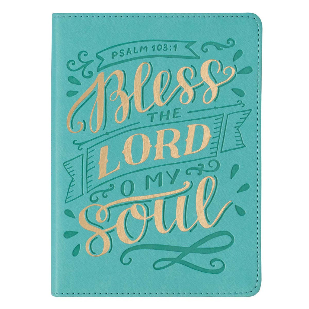 Bless the LORD Teal Handy-Sized Faux Leather Journal - Psalm 103:4