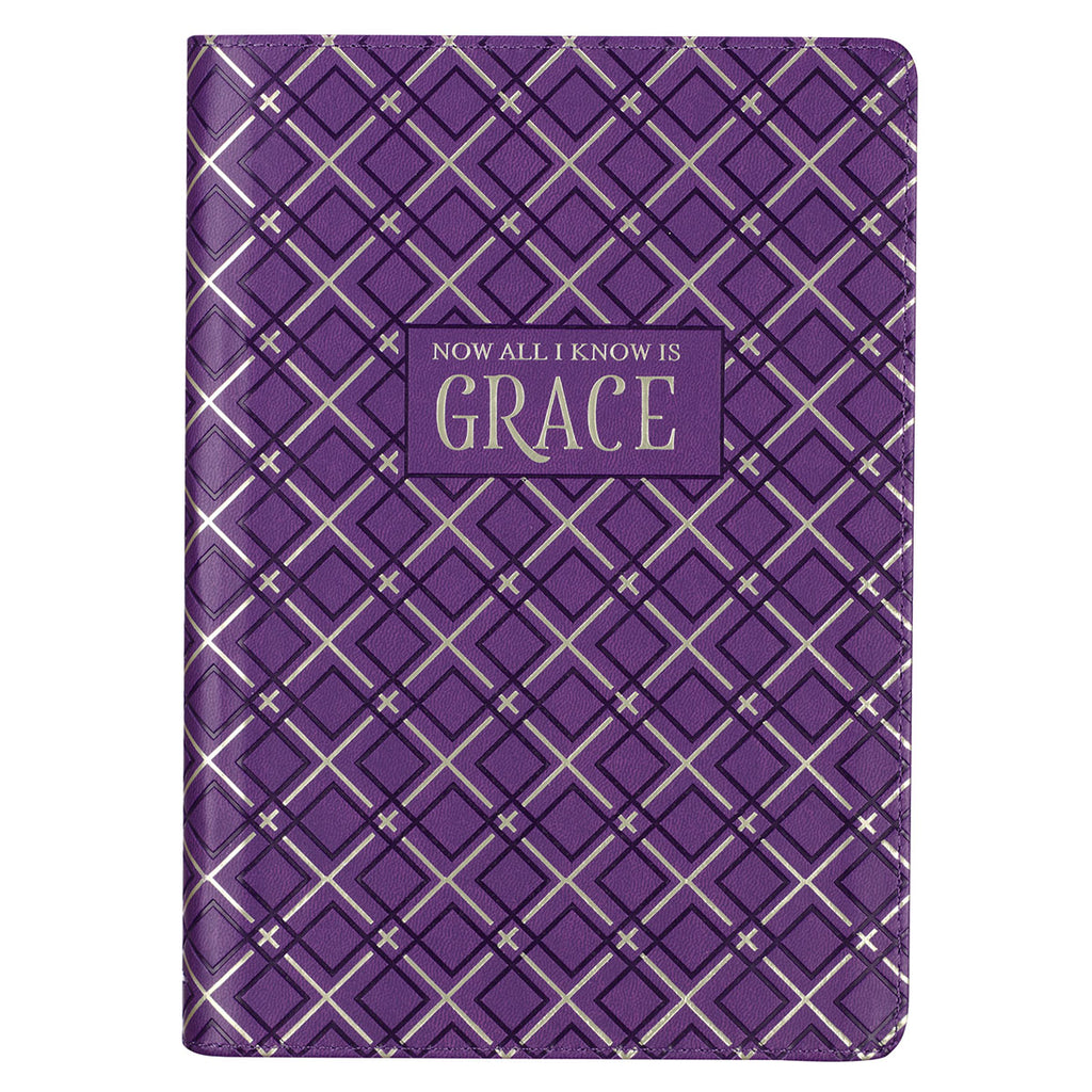 All I Know is Grace Purple Faux Leather Classic Journal with Zipped Closure