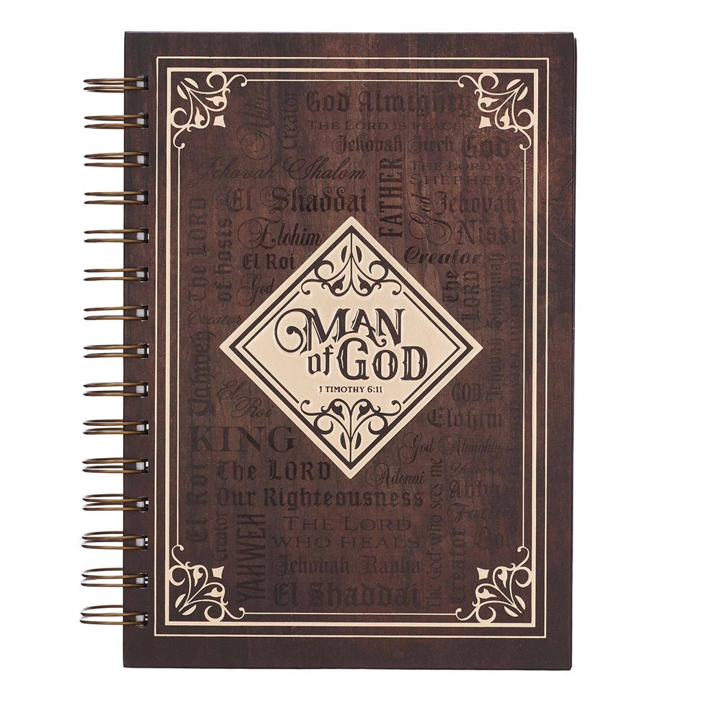 Man Of God Large Wirebound Journal in Brown - 1 Timothy 6:11