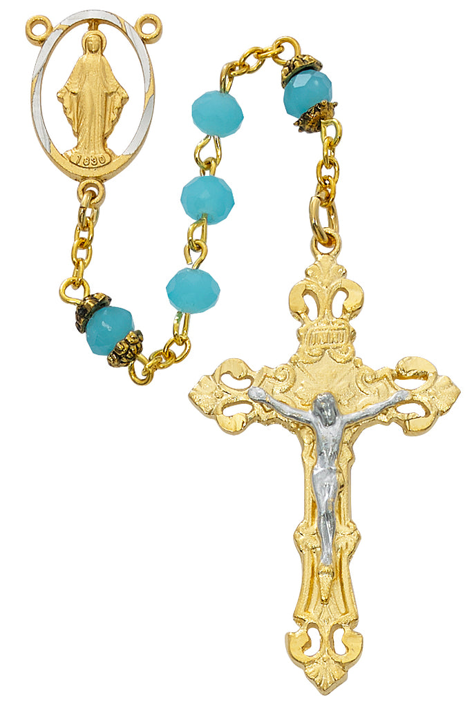 Rosary - Gold Aqua Glass Rosary Boxed