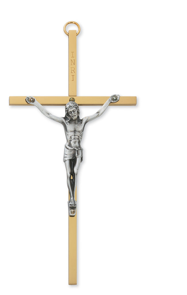 Crucifix - 6 in. Brass Cross with Pewter Corpus Boxed