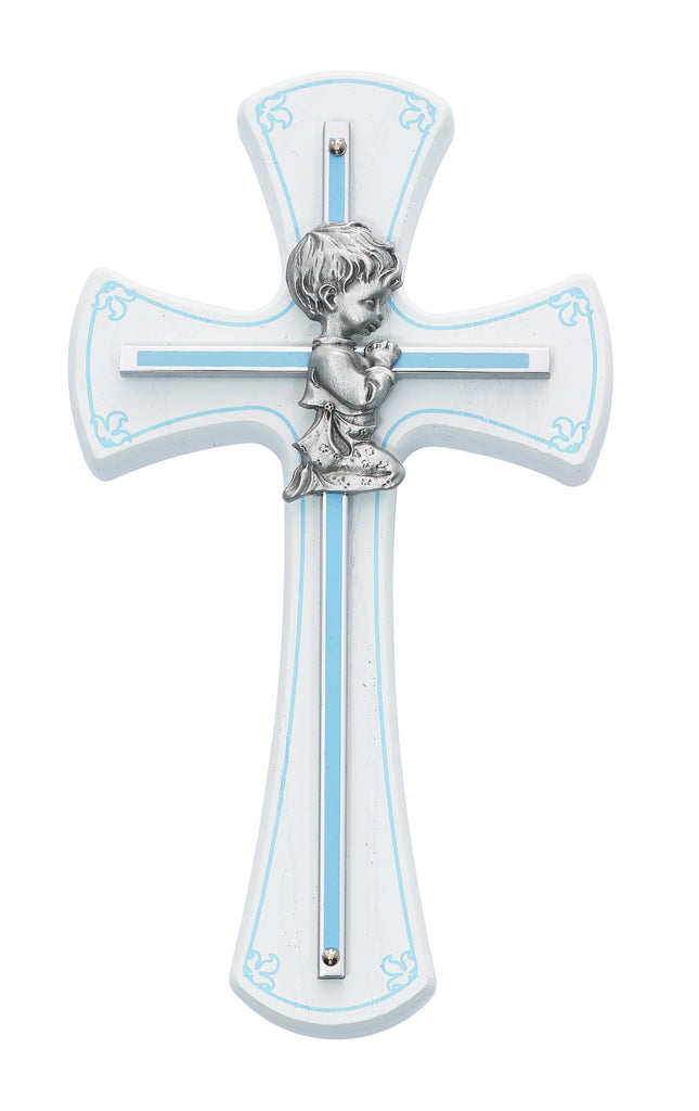 Cross - 7in White and Blue Baby Boy Praying Cross