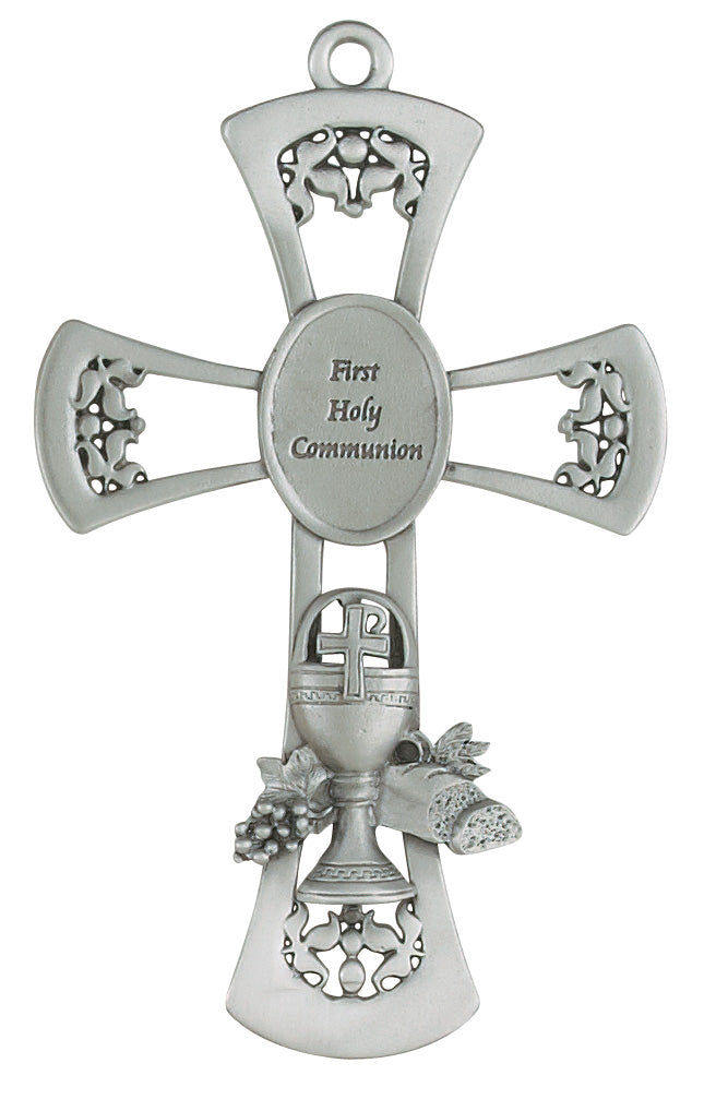 Cross 6in Pewter Communion Cross Box