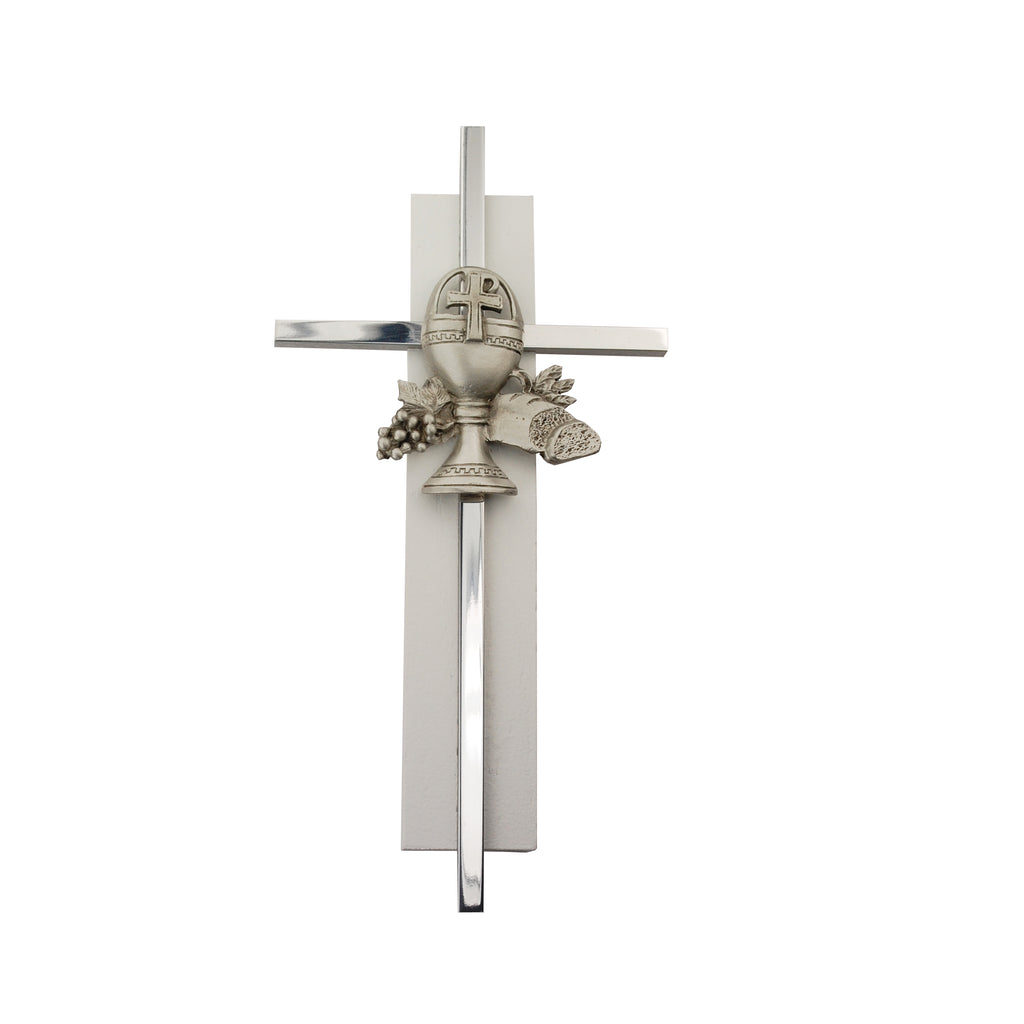Cross - 6in Silver with White Wood Communion Cross Box