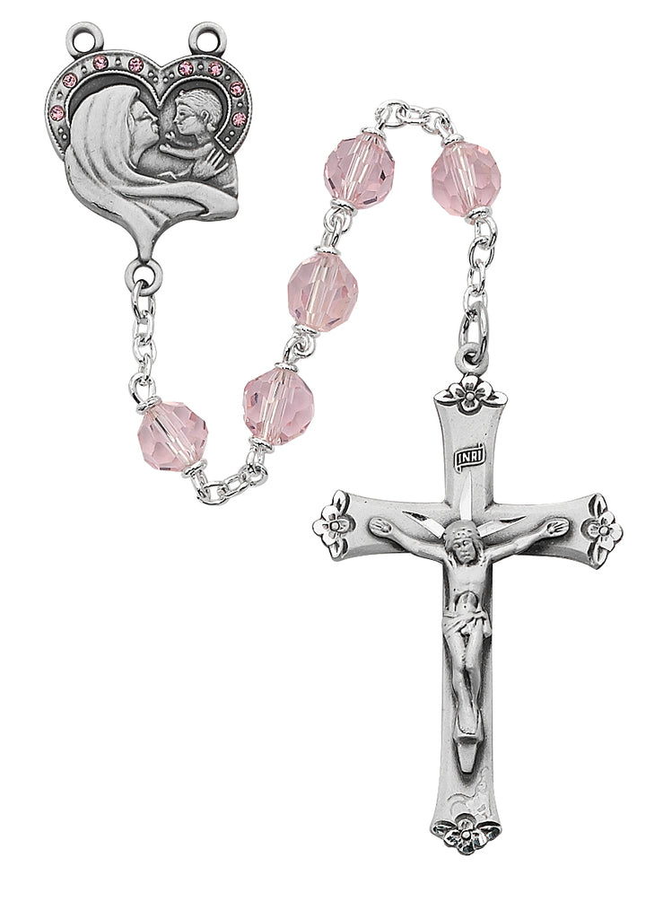 Mother and Child Rosary - Pink Crystal Rosary Boxed