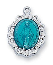 "Miraculous Medal - Blue Baby on 13"" Chain"