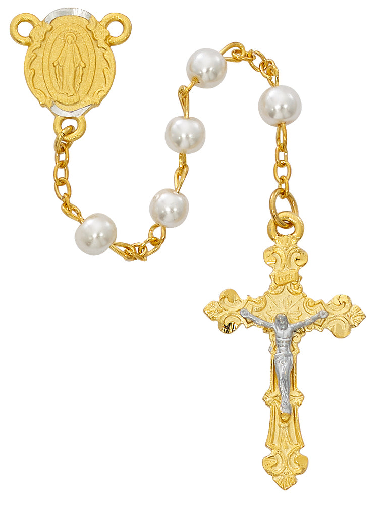 Rosary - Gold Plated Pearl Glass Rosary Boxed