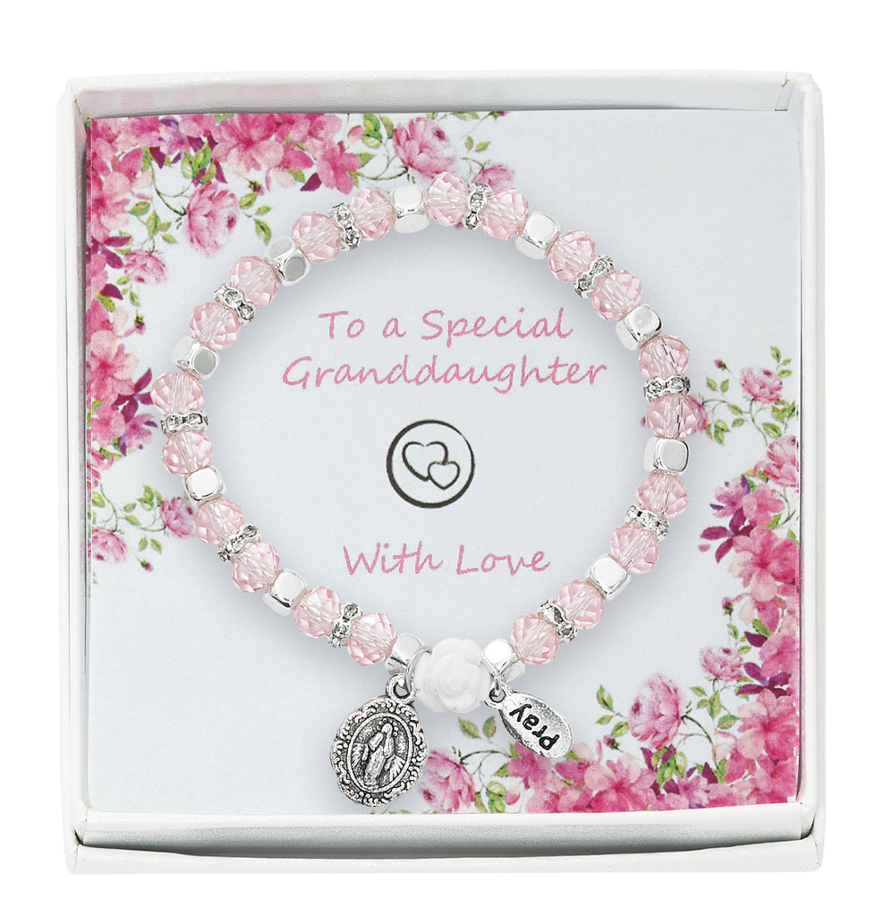 Bracelet - Pink Stretch Bracelet in Granddaughter Box