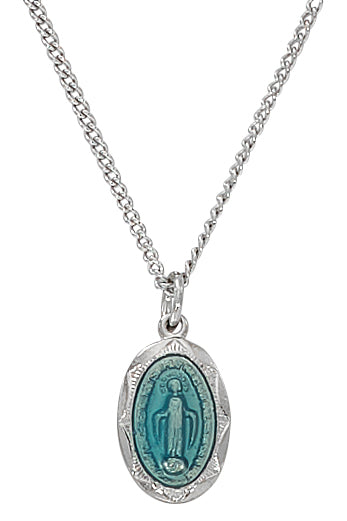 Miraculous Medal - Sterling Blue Baby Pendant Boxed