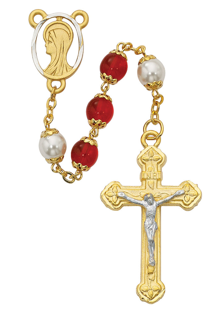 Rosary - Red and Pearl like  Glass Rosary Boxed
