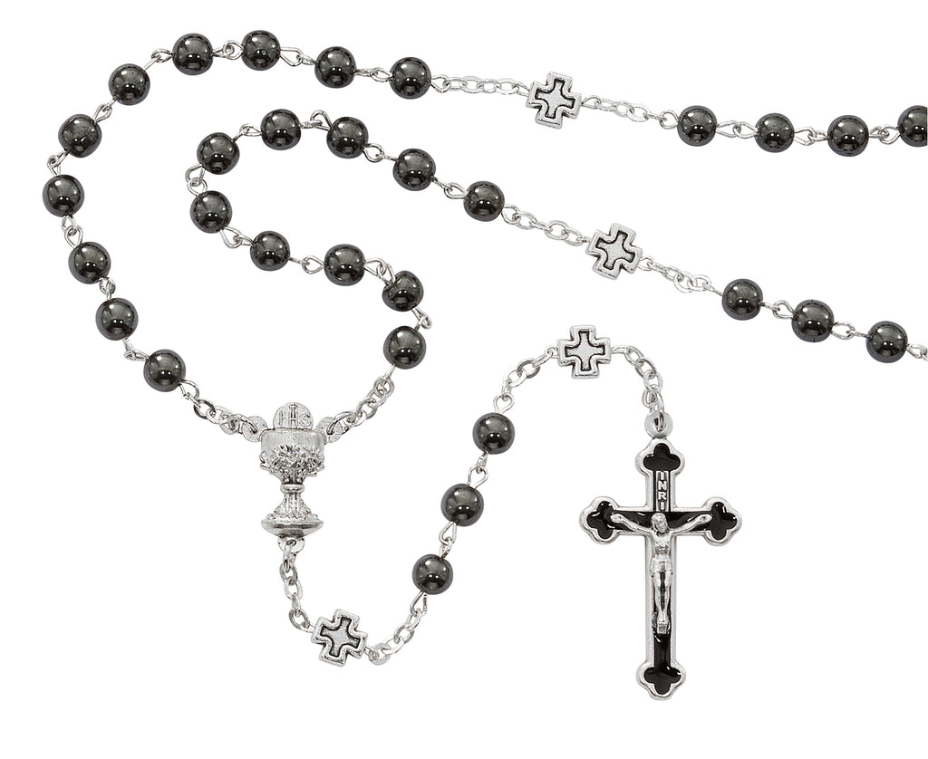 Rosary - 6mm Hematite Communion Rosary Box