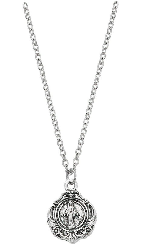 Necklace - Silver ox Miraculous with 16in Chain, Carded
