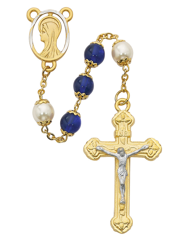 Rosary - Blue and Pearl like  Glass Rosary Boxed