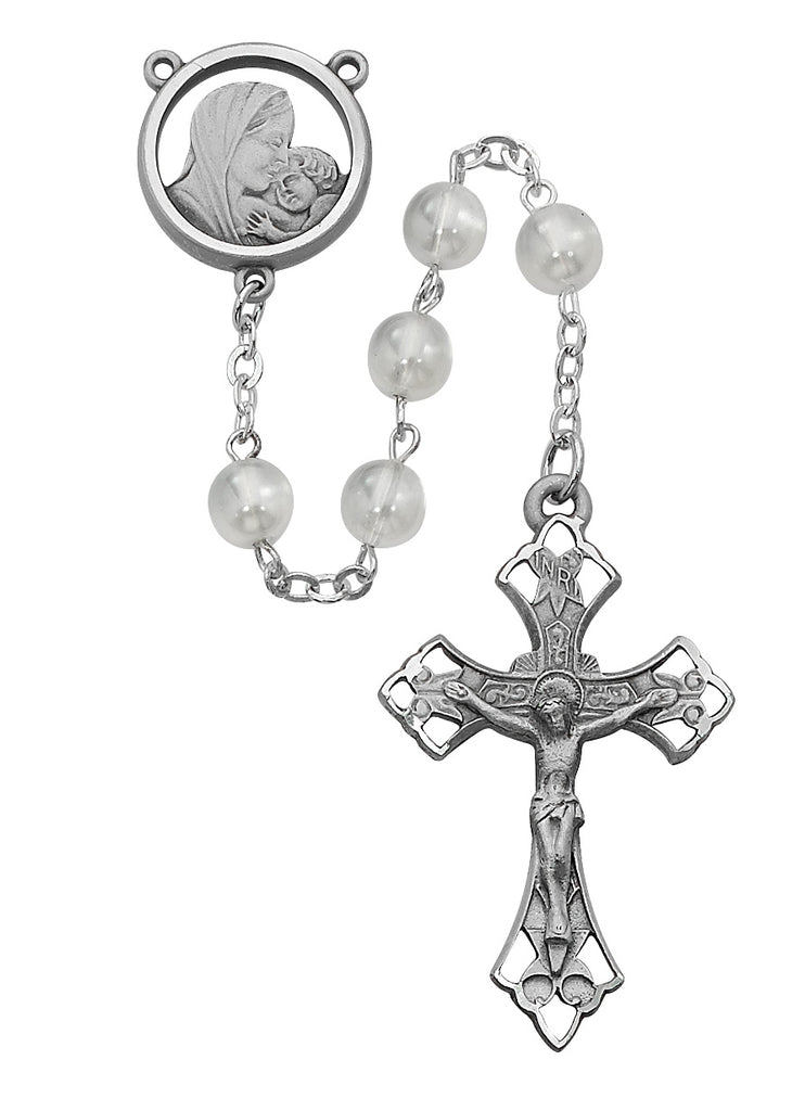 Mother and Child Rosary - White Glass Rosary Boxed