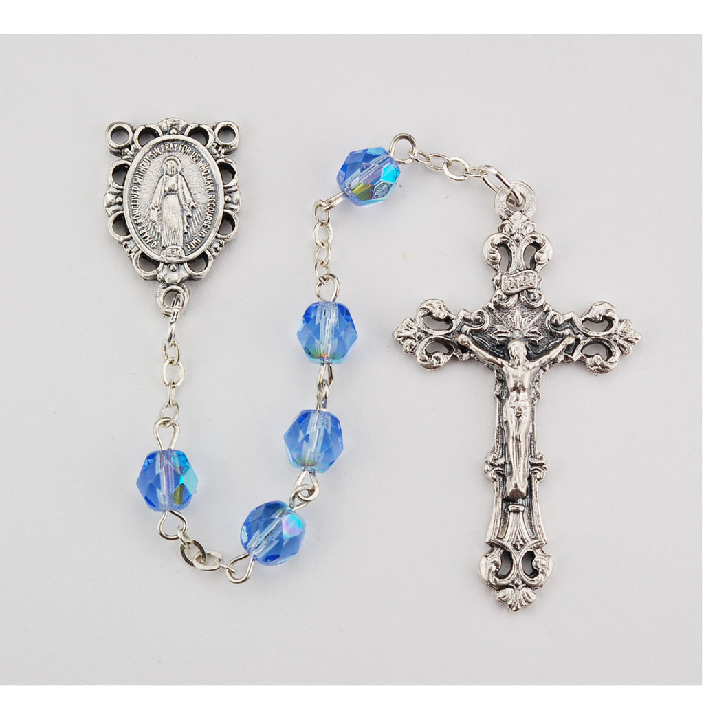 Birthstone Rosary - Light Blue Glass December Rosary Boxed