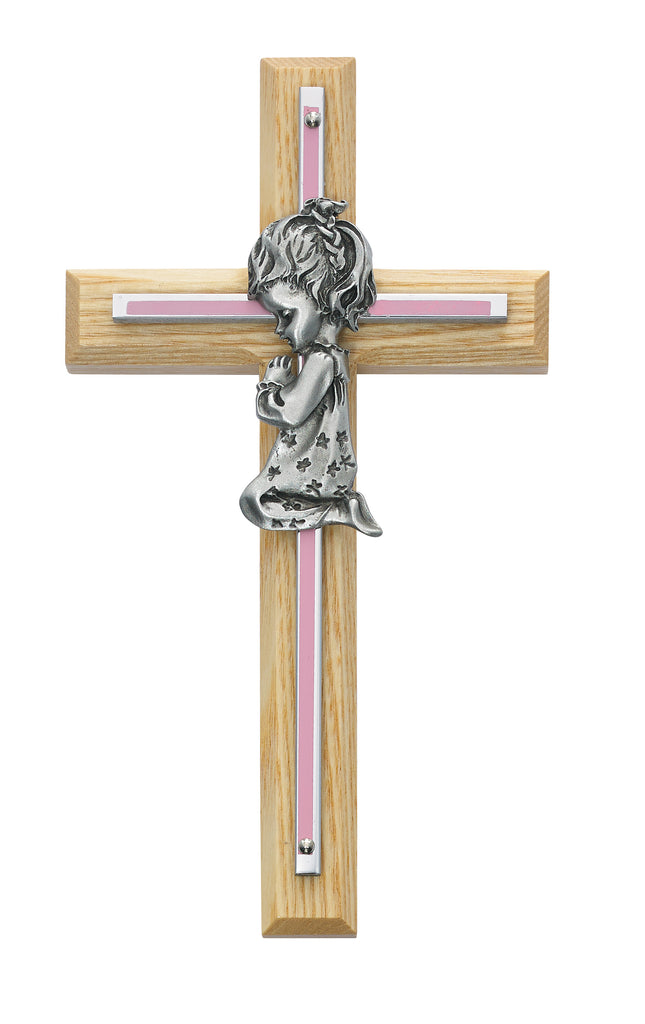 Cross - 7in Oak with Baby Pink Girl Praying Cross Boxed