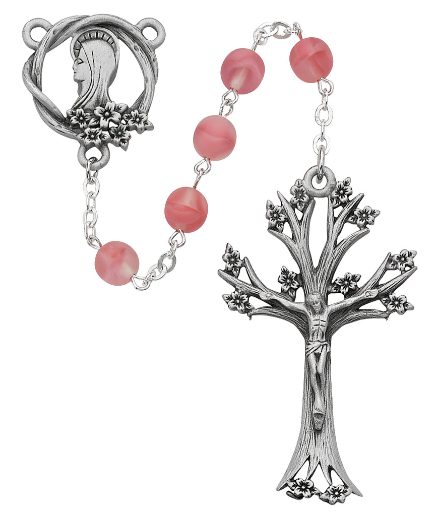 Rosary - Pink Glass Dogwood Rosary Boxed