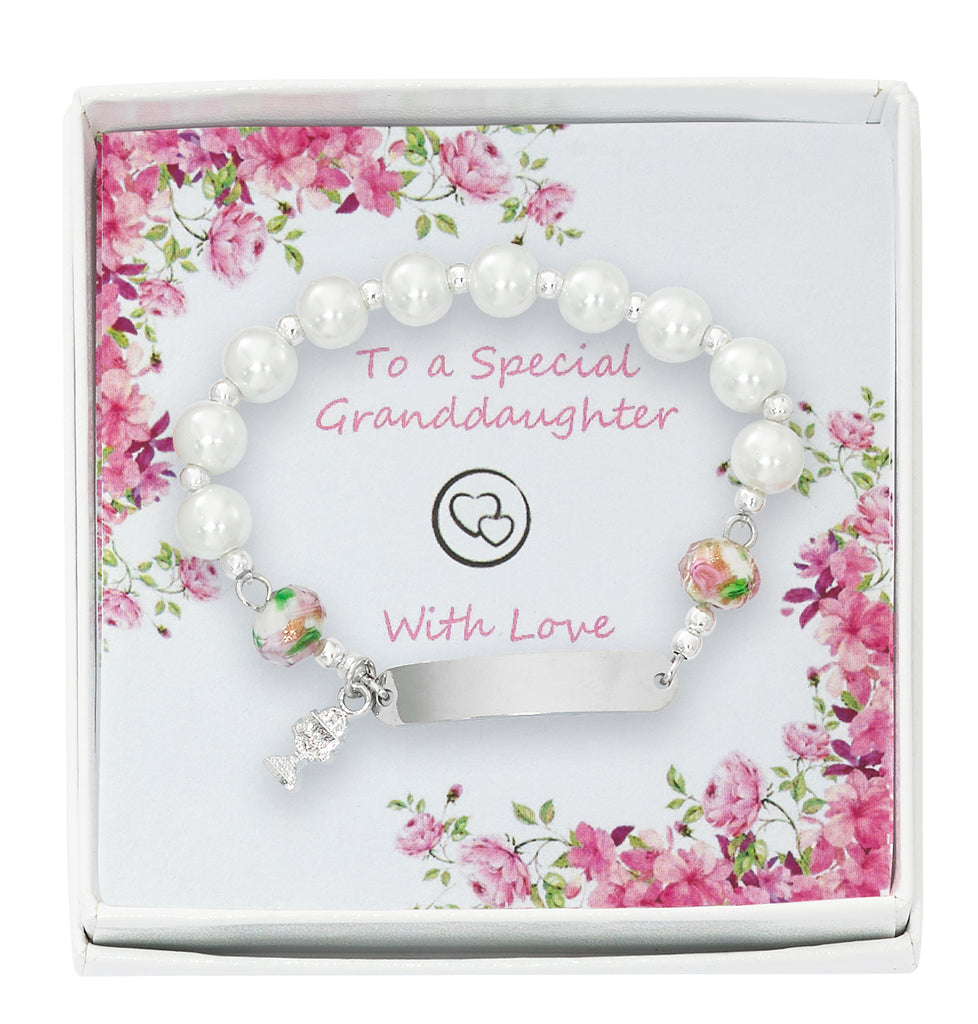 Bracelet - Youth Engravable Communion Bracelet Grandchild Box