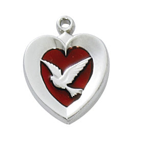 Necklace - Rhodium Plated Red Holy Spirit Pendant Box