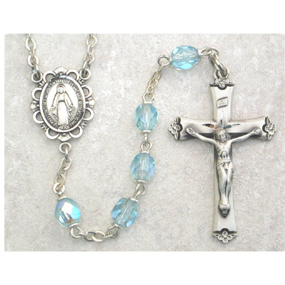 Birthstone Rosary - Aqua Glass March Rosary Boxed