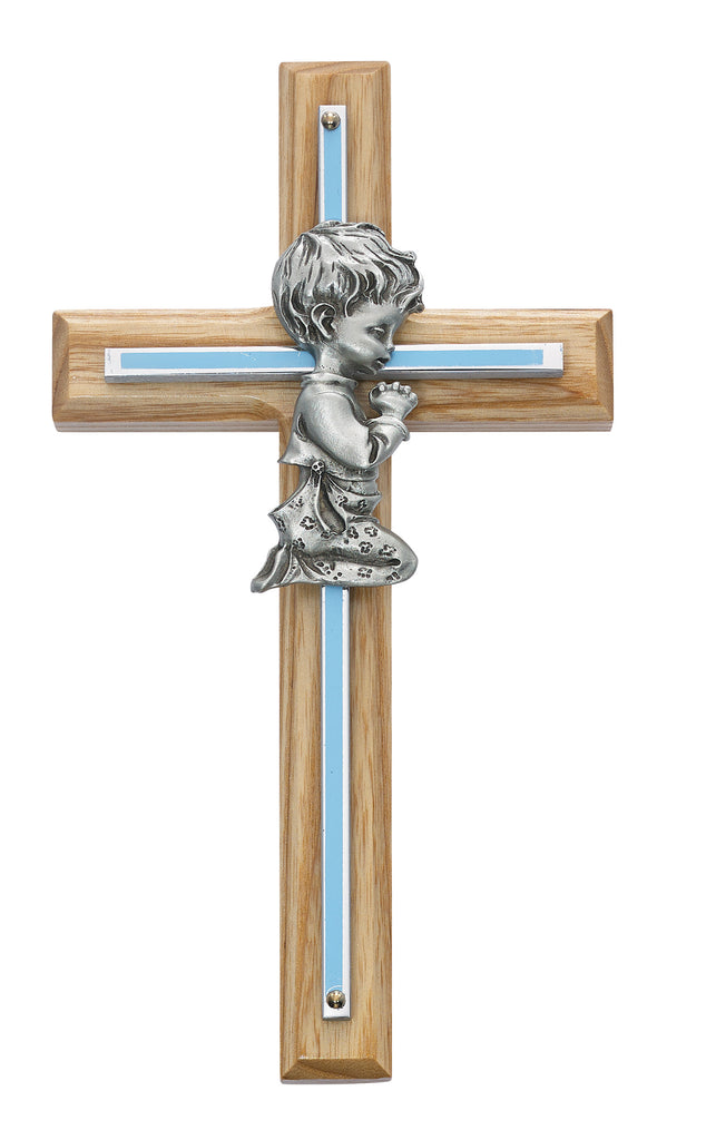 Cross - 7in Oak with Blue Baby Boy Praying Cross Boxed
