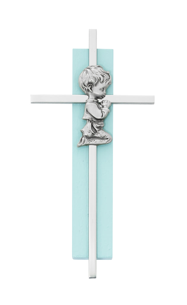 Wall Cross - 6in Blue Wood Praying Boy on Silver Cross Boxed